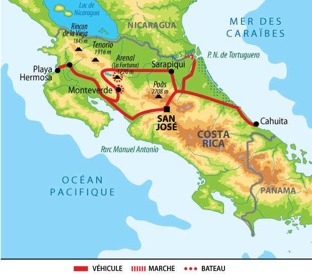 Carte du Costa Rica express