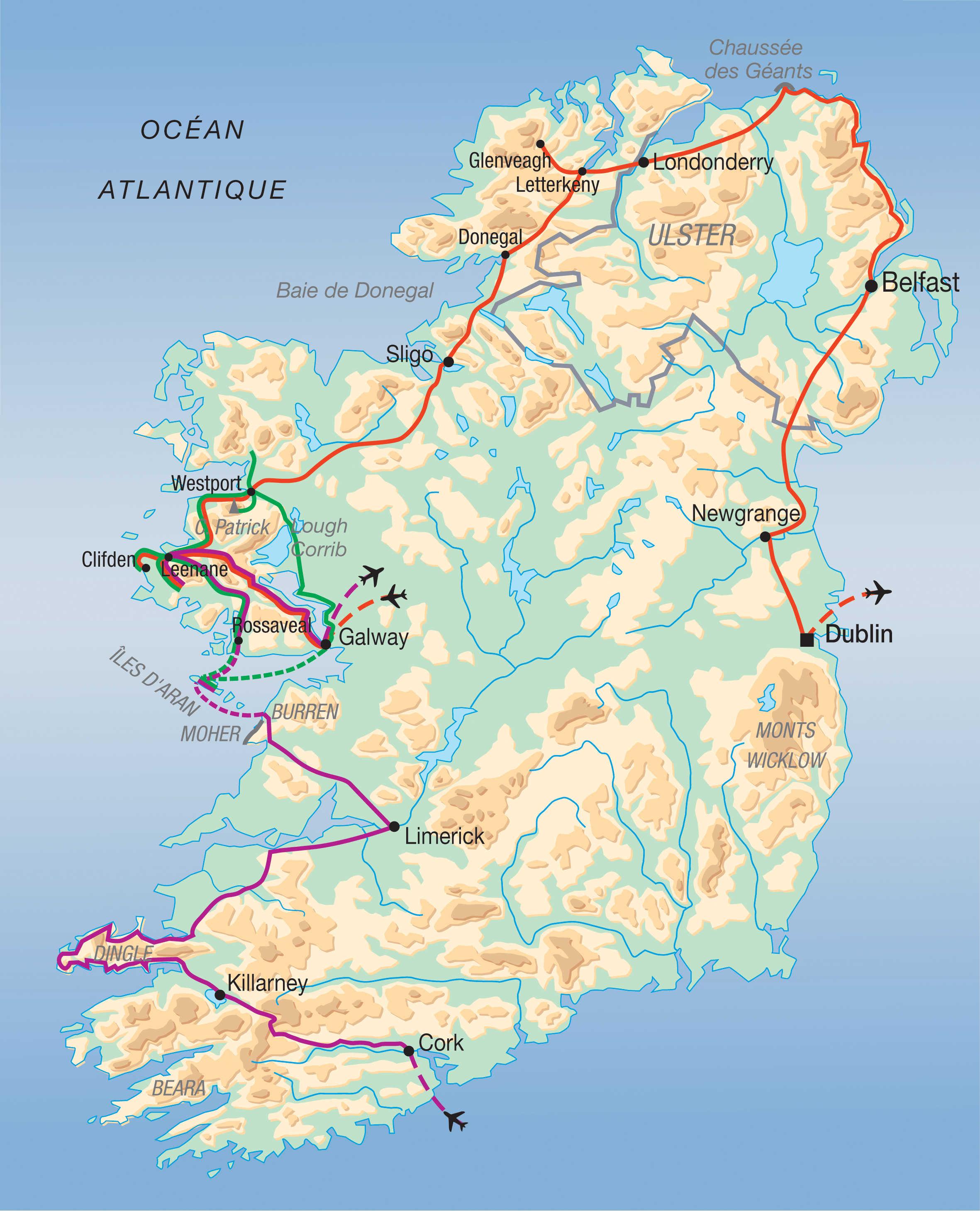 Carte du grand tour de l'Irlande