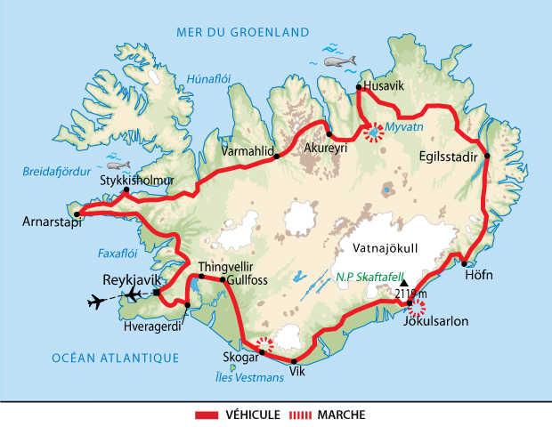 Carte du grand tour de l'Islande