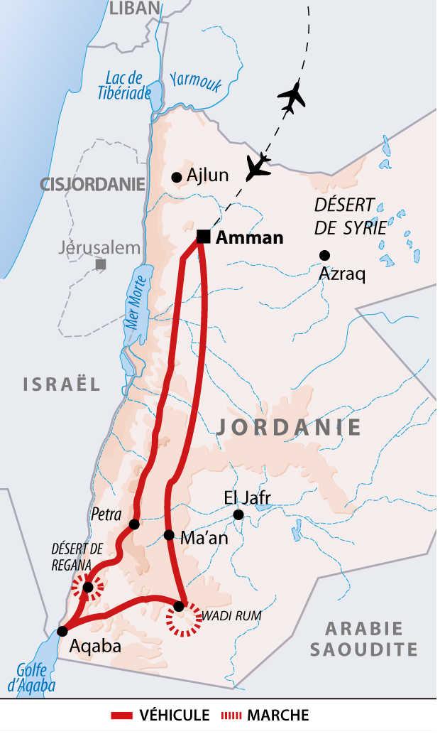 Carte du grand trek de Jordanie
