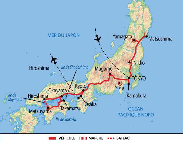 Carte du Japon du Nord au Sud