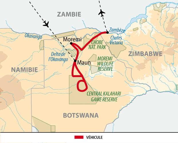 Carte du Kalahari aux chutes Victoria