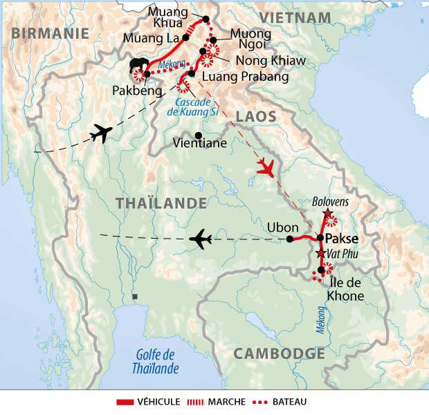 Carte du Laos du Nord au Sud