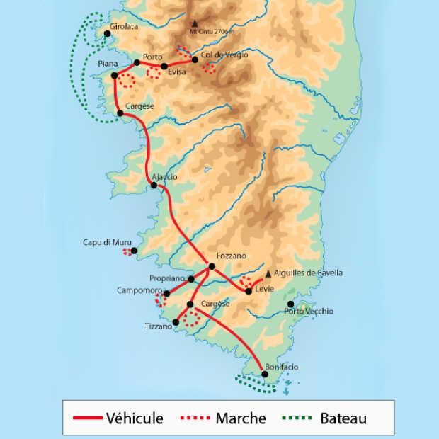 Carte du meilleur de la Corse