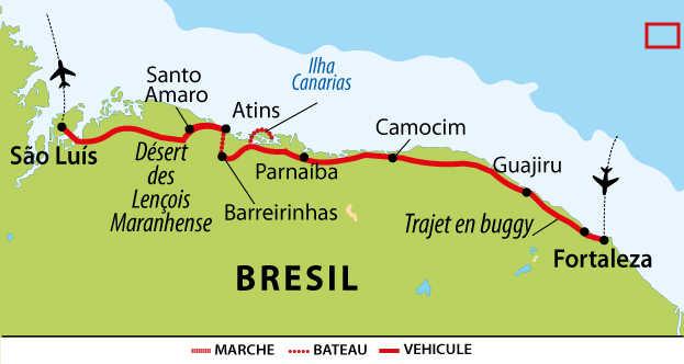 Carte du Nordeste du Brésil