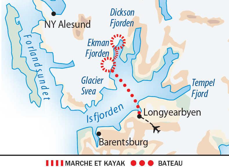 Carte du séjour au pays des glaciers bleus en itinérance
