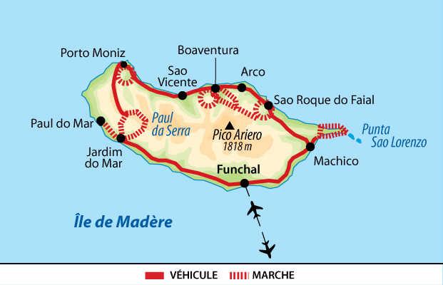 Carte du tour de l'île de Madère