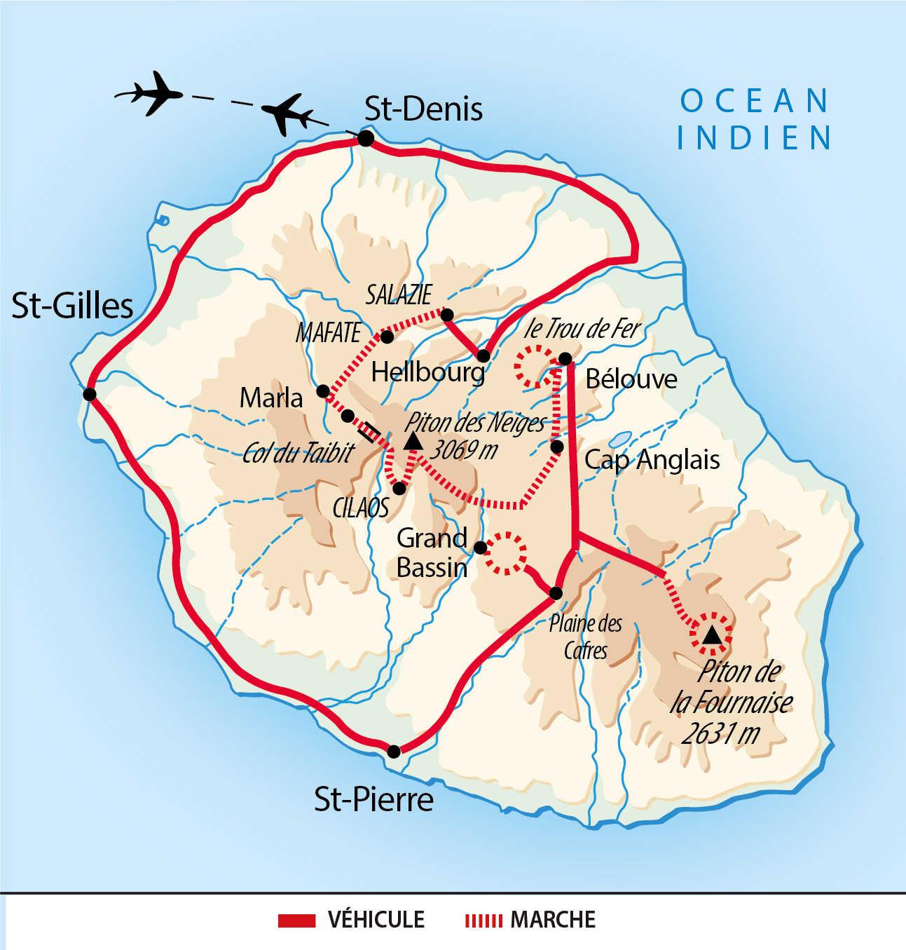 Carte du tour des 3 cirques à la Réunion