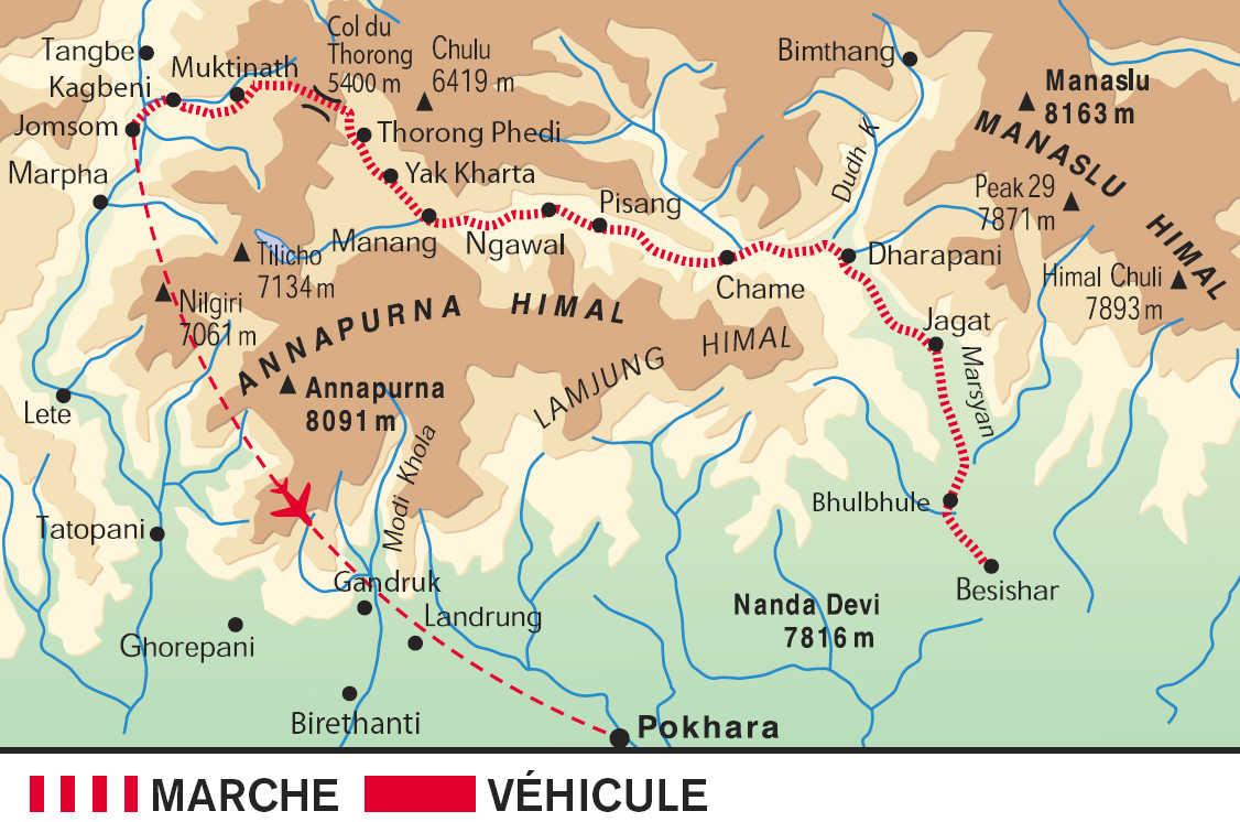 Carte du tour des Annapurnas au Népal