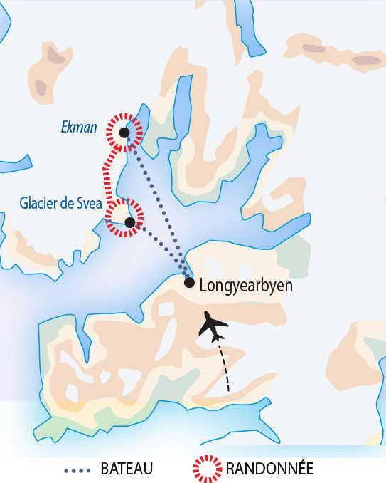 Carte du trek arctique au Spitzberg
