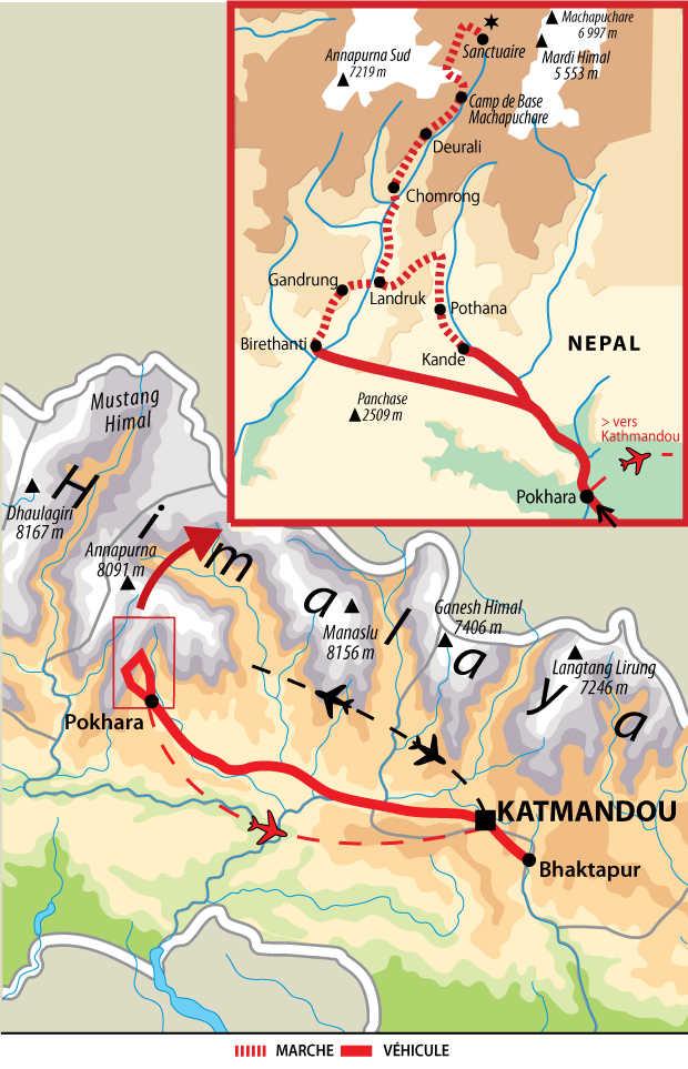 Carte du trek au sanctuaire des Annapurnas