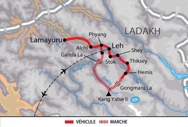 Carte du trek dans la vallée de Markha