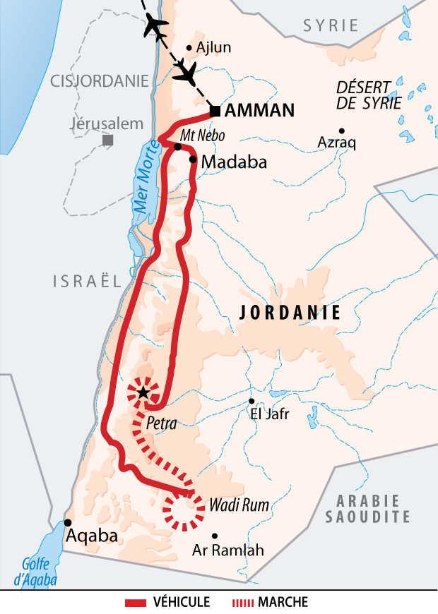Carte du trek de Pétra et du Wadi Rum