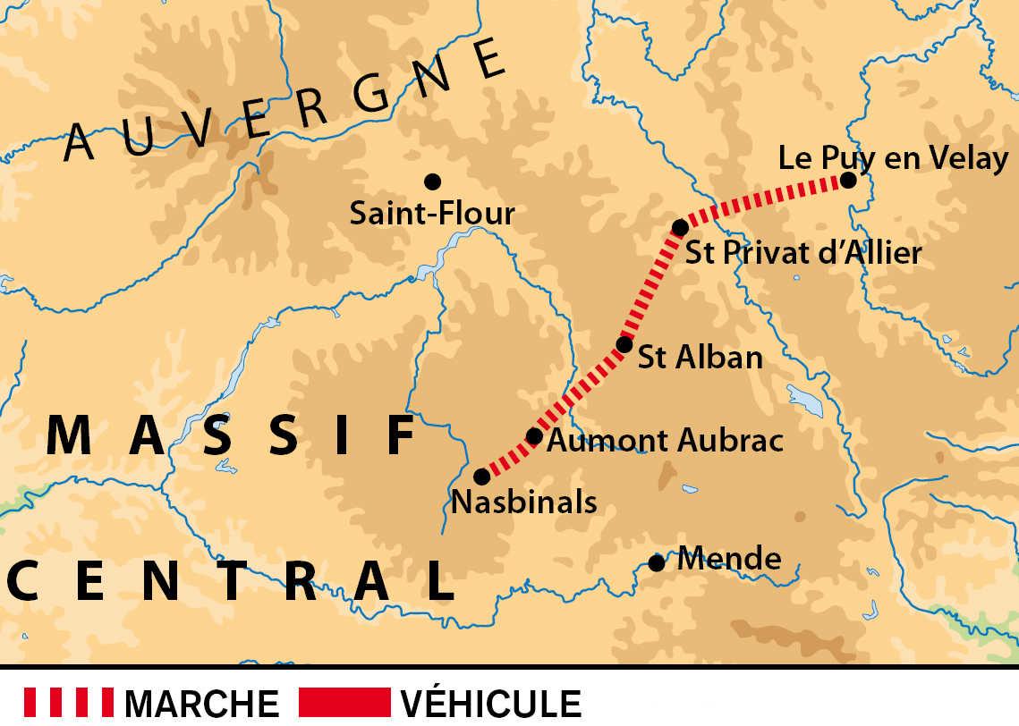 Carte du trek du chemin de Compostelle dans le Massif Central