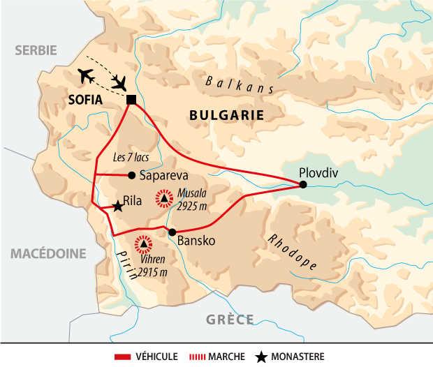 Carte du trek et monastère en Bulgarie
