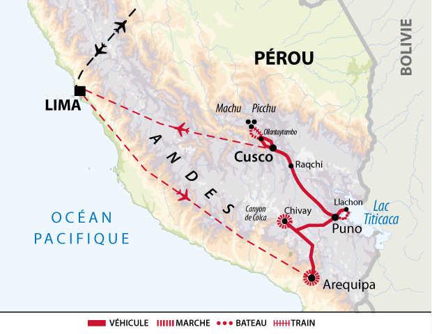 Carte du trek intégral du chemin de l'inca