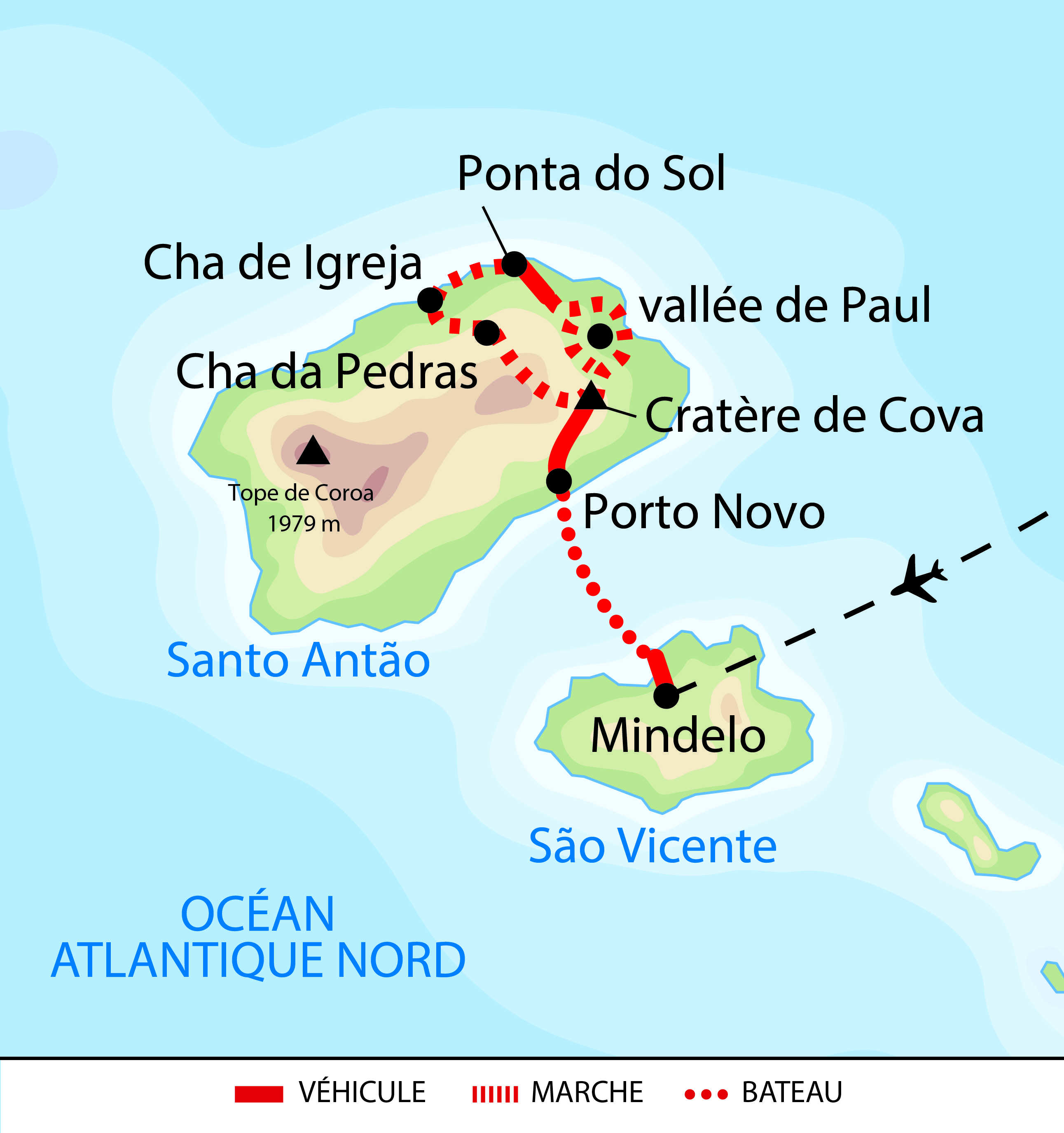 Carte du trek itinérant à Santo Antao