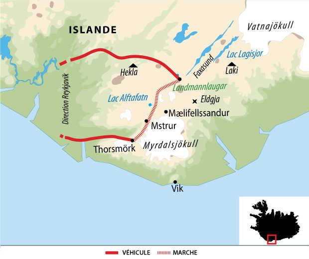 Carte du trek itinérant du Laugavegur