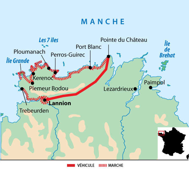 Carte du trek sur la côte de Granit Rose et l'île de Bréhat