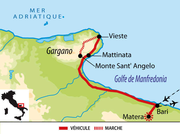 Carte du voyage à Gargano en Italie