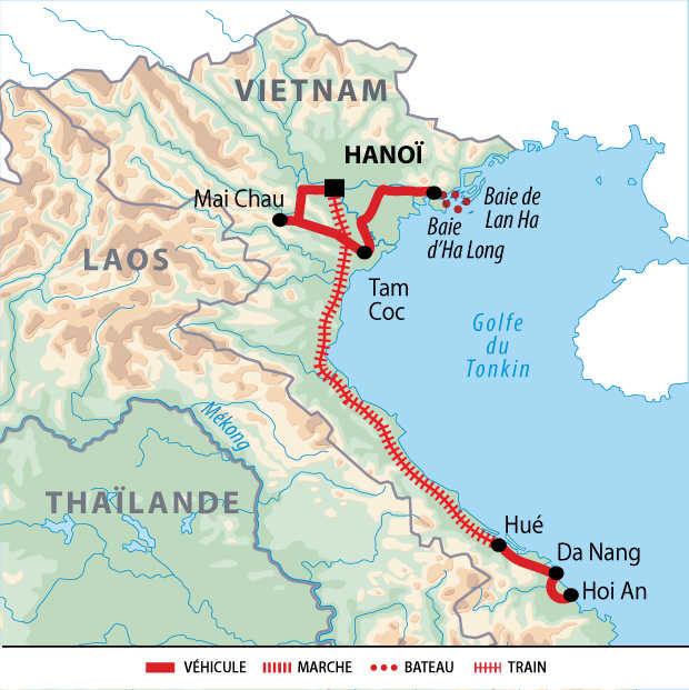 Carte du voyage au nord du Vietnam