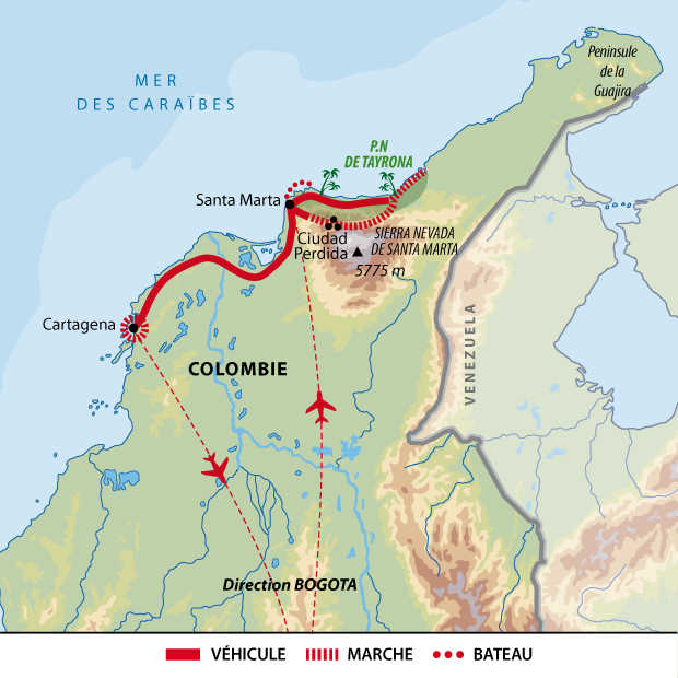Carte du voyage Cité Perdue en individuel