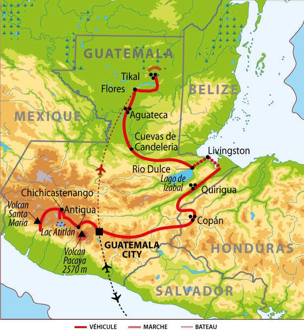 Carte du voyage couleurs maya