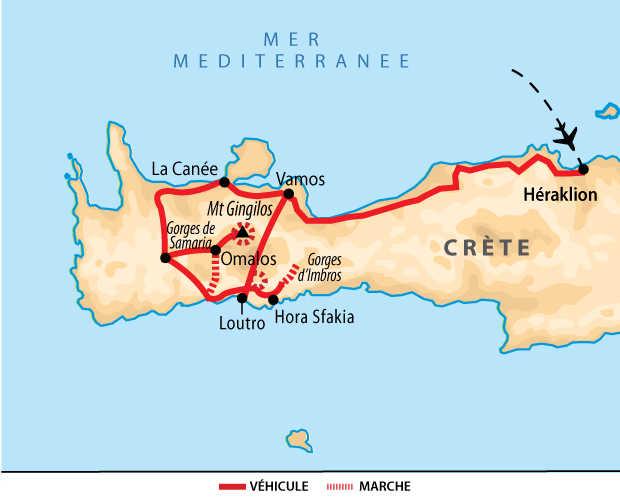 Carte du voyage Crète en famille