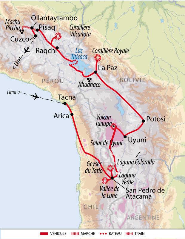 Carte du voyage de la grande exploration andine