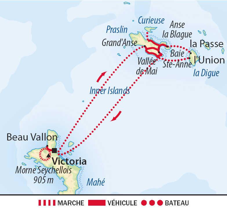 Carte du voyage D'île en île aux Seychelles