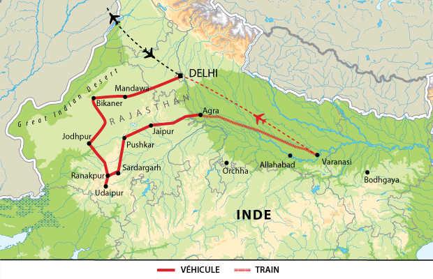 Carte du voyage du Rajasthan à Bénarès