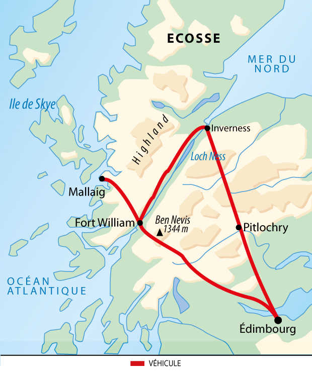Carte du voyage en Ecosse en famille