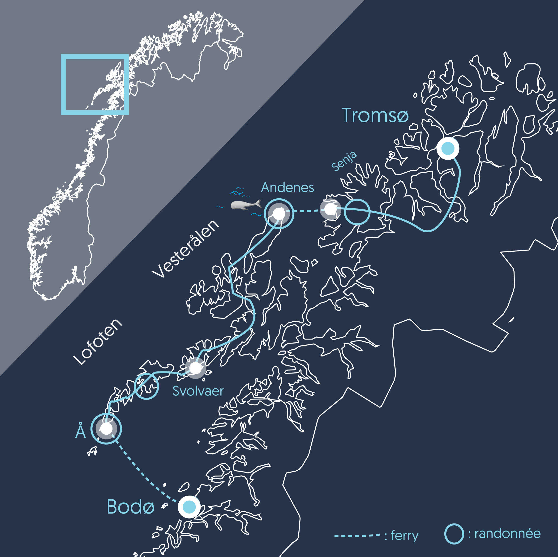 Carte du voyage en Norvège du Nord