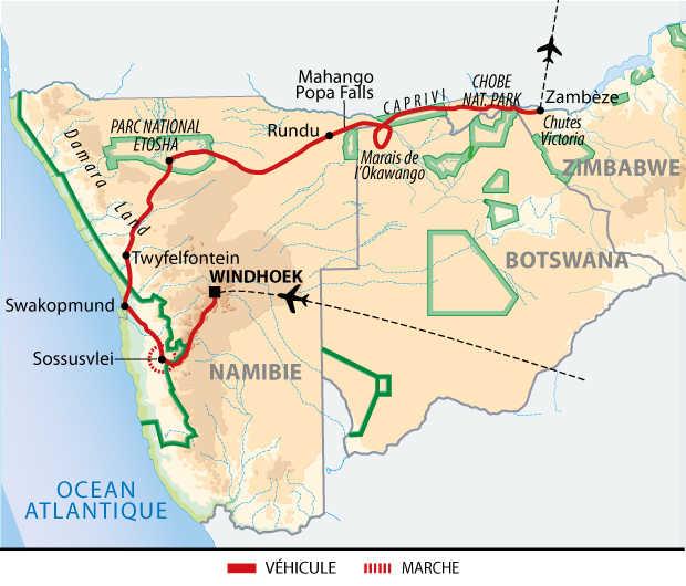 Carte du voyage entre Namibie, Botswana et Zimbabwe