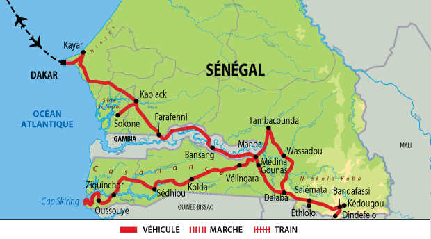 Carte du voyage exceptionnel entre Sénégal et Gambie