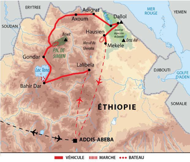 Carte du voyage Fêtes de Gena et Timkat