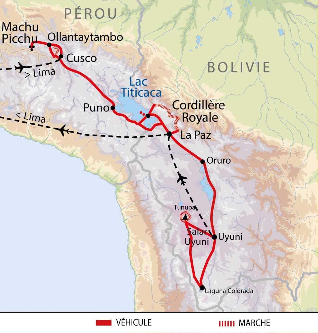 Carte du voyage lacs et volcans et Andes centrales