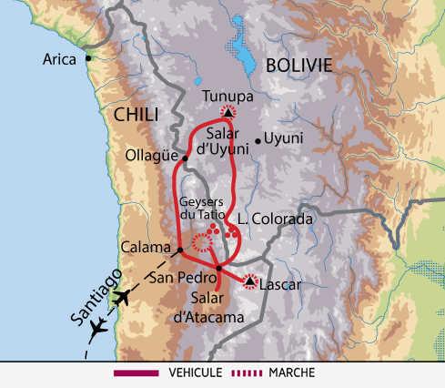 Carte du voyage les volcans de l'Altiplano entre le Chili et la Bolivie