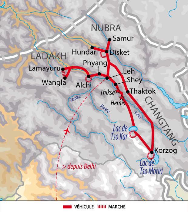 Carte du voyage monastères, dunes et lacs du Ladakh