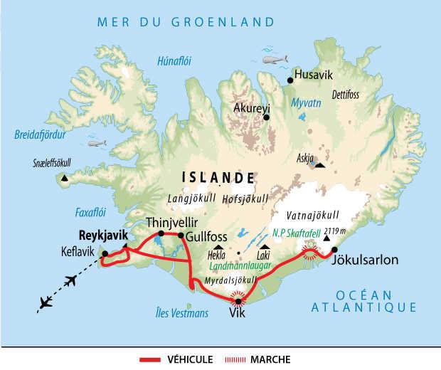 Carte du voyage multiactivités boréales en Islande