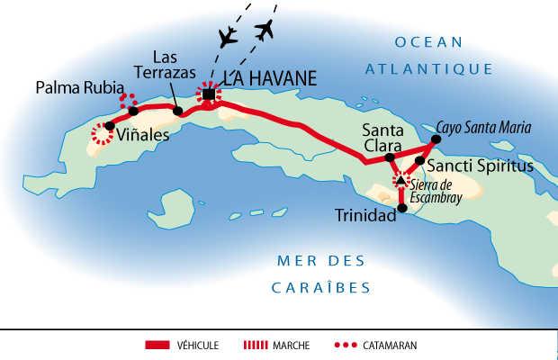Carte du voyage multiactivités et rencontres à Cuba