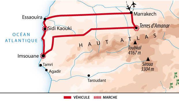 Carte du voyage multiactivités terre et mer au Maroc