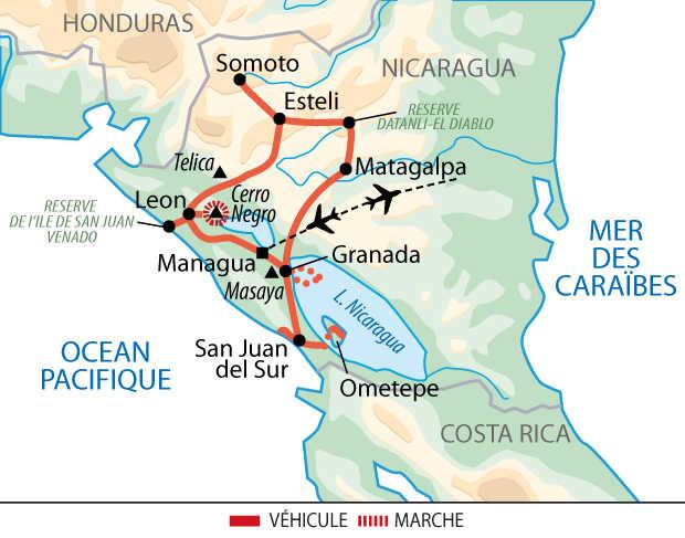 Carte du voyage Nicaragua UNIDEC