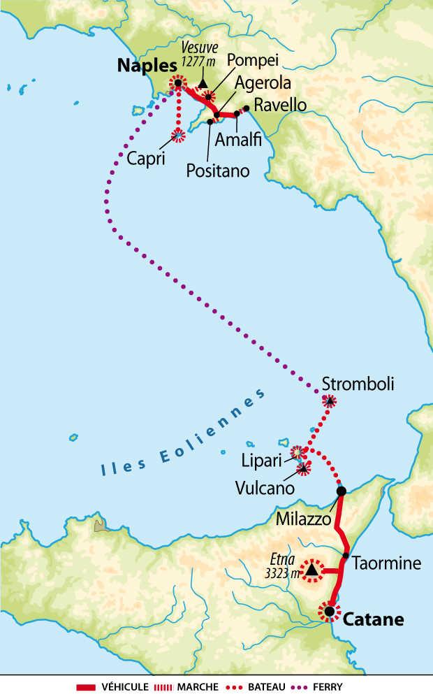 Carte du voyage Sicile et Côte amalfitaine