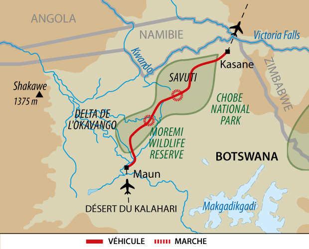 Carte d'un safari au Botswana