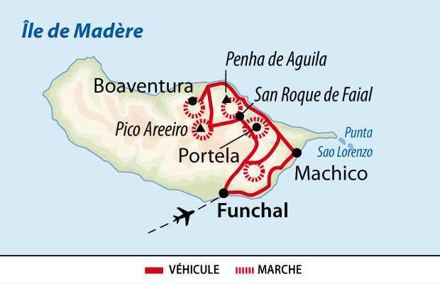 Carte d'un trek itinérant à Madère