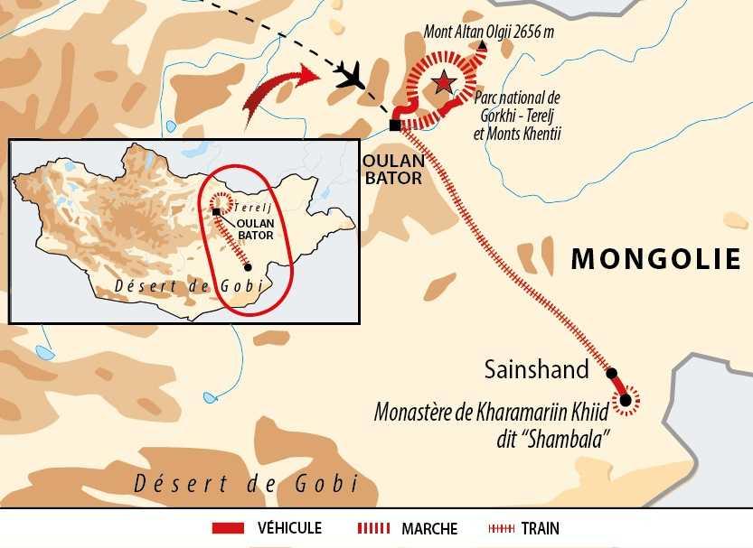Carte entre Steppes du Terelj et désert de Gobi par le train