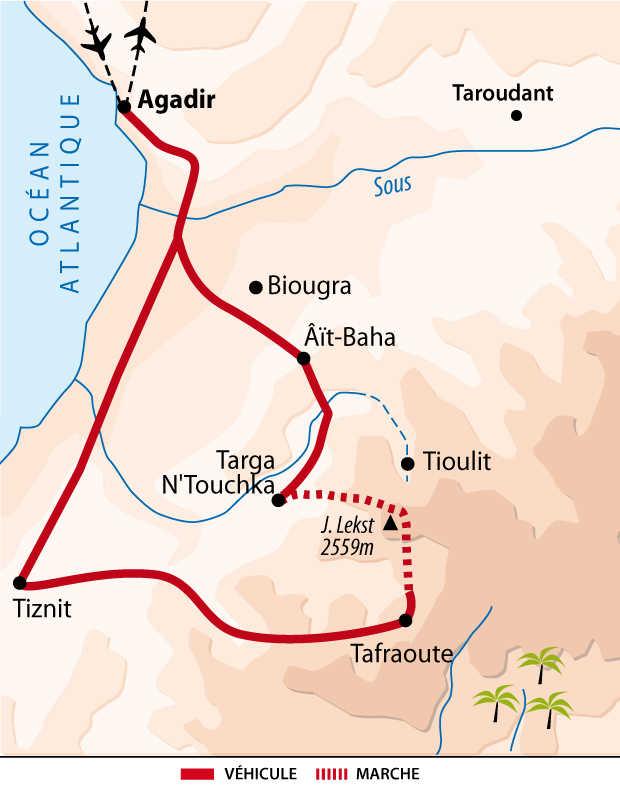 Carte itinéraire Anti-Atlas, Maroc