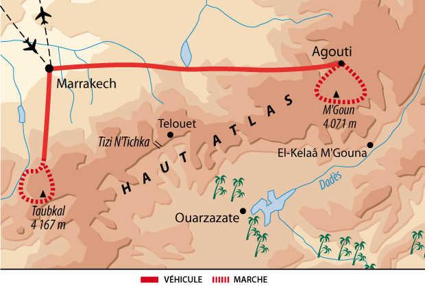 Carte itinéraire Atlas, Maroc