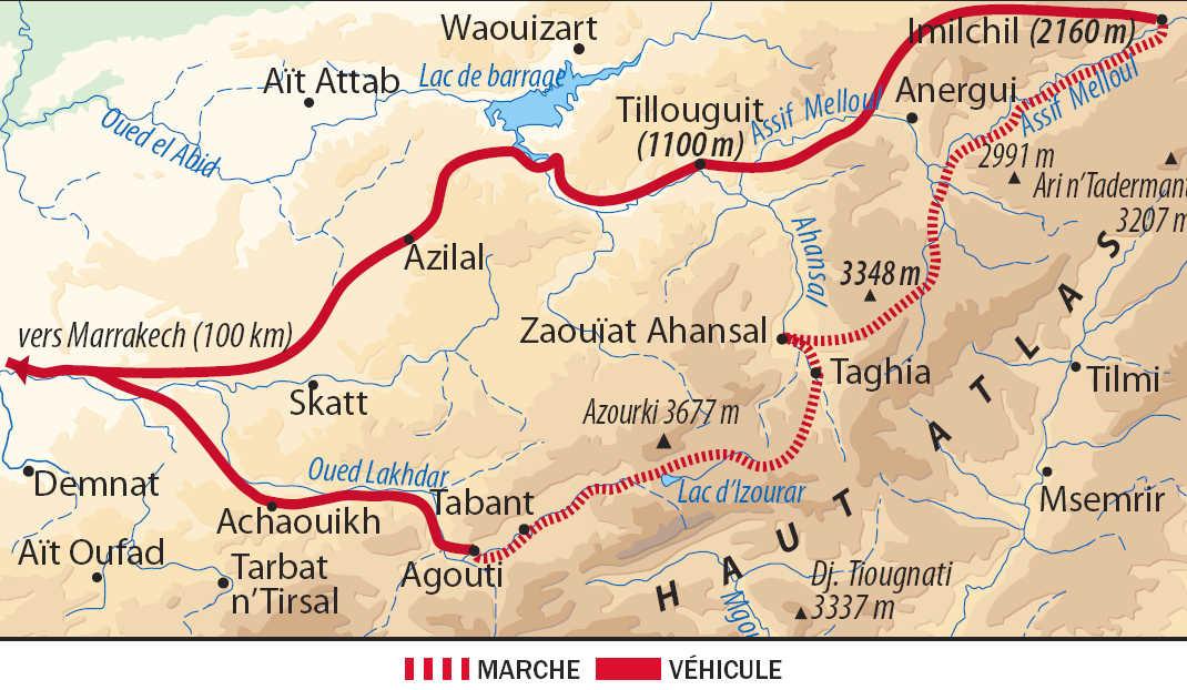 Carte itinéraire Atlas oriental, Maroc